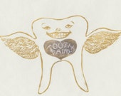 Tooth Fairy linocut - Lino Block Print of a Winged Tooth Fairy, Children's Art, Fairytale, Teeth