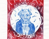 Maxwell's Demon Linocut - Imaginary Friends of Science Lino Block Print Collection - History of Science, James Clerk Maxwell, Physics Daemon