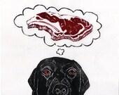 Black Lab Dreams of Meat Linocut, Lino Block Print of Black Labrador Retriever Dreaming of Prime Rib Steak, Funny Dog Illustration