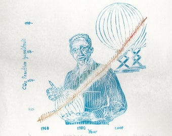 Charles David Keeling and the Keeling Curve of CO2 in Atmosphere, History of Science Print Portrait Climate Change Atmospheric Chemistry