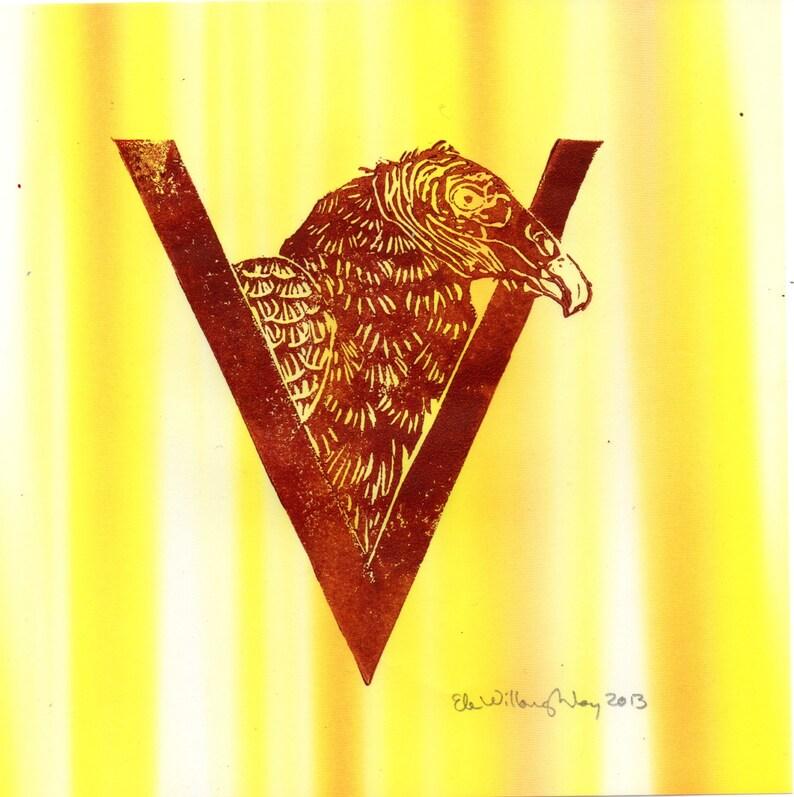 Vulture V Monogram Linocut Alphabet Typographic Lino Block image 0