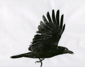 Crow Linocut