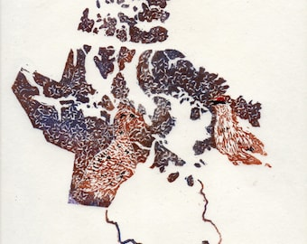 Nunavut, rock ptarmigan and purple saxifrage linocut - Lino Block Print Maps of Canadian Provinces & Territories with Symbols - Arctic
