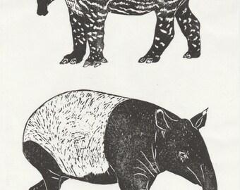 Tapir and Baby Linocut