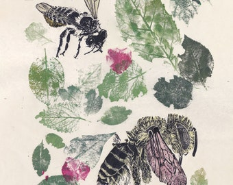 The Leaf Cutter Bees, Print with Lino Block Printed Megachile Bees and Leaf and Petal Prints