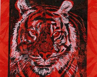 Tiger Print on Leafy Patterned Paper, Lino Block Print Tiger, Natural History
