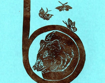 Bear and Butterfly B Monogram Linocut - Alphabet Letter with Animals Typographical Lino Block Print - B for Bear and Butterflies