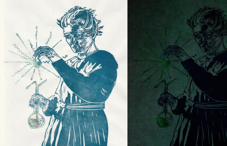 Marie Curie glows-in-the-dark Portrait, History of Science, Lino Block  Print, Women in STEM, Physicist