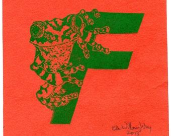 Frog F Monogram Print, Alphabet Animals Typographical Lino Block Print