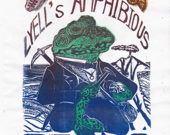 Lino Block Print Geologist Charles Lyell's Amphibious Being, Imaginary Friend of Science