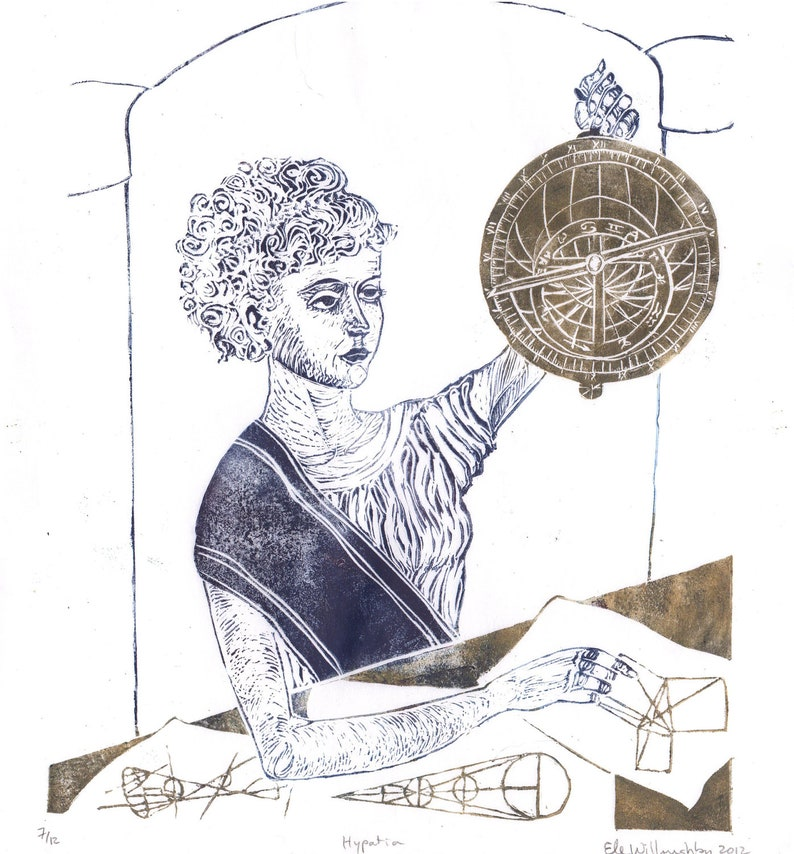 History of Math and Astronomy Hypatia Print Ancient Classical image 0