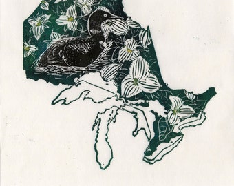 Ontario, common loon and trilium linocut - Lino Block Print Maps of Canadian Provinces & Territories with Provincial Symbols - Ontario Loon