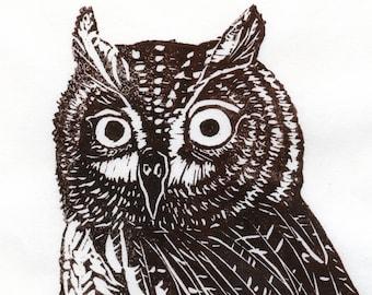 Screech Owl Linocut - Lino Block Print of Brown Screech Owl on Japanese Paper