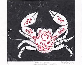 Porcelain crab lino block print - hand printed red polka dotted white crab