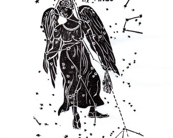 Virgo Constellation Print in Black and White, Constellations of the Zodiac Lino Block Print Collection, Virgo