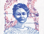 Linocut portrait of biochemist Dr. Maud Menten, pioneer of enzyme kinetics, histochemistry, electrophoresis, adventurer and artist