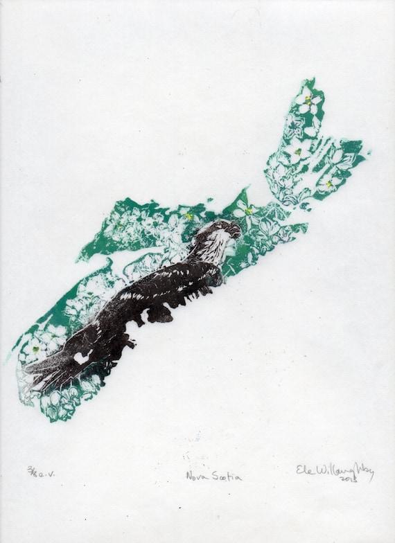 Linogravure de la Nouvelle-Écosse le balbuzard pêcheur et la   Etsy b92a8615252