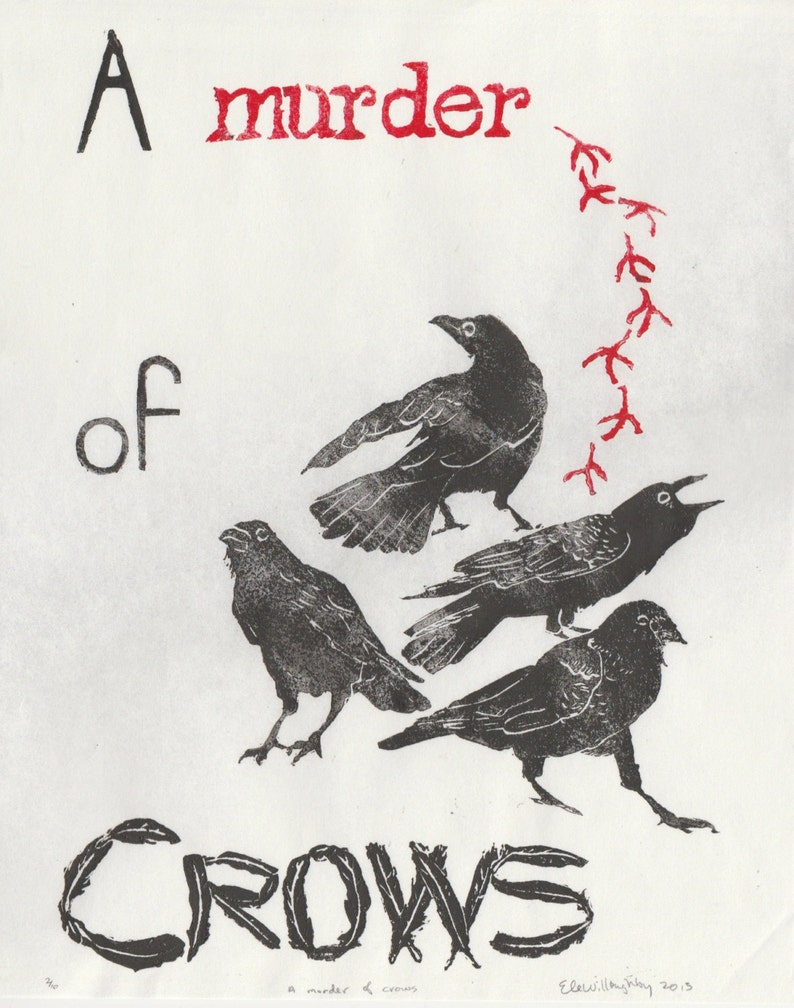 A Murder of Crows Print Terms of Venery Collective Nouns for image 0