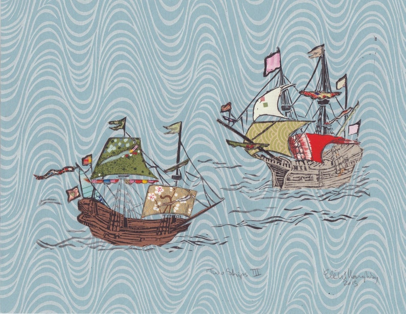 Two Ships III  Block Print with Mixed Papers  Lino Block image 0