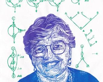 Linocut portrait of trailblazer in computer science Frances Allen, woman in STEM
