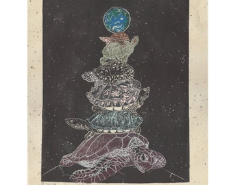 Turtles, All The Way Down - Linocut Block Print about Turtles Supporting the Earth - Legendary Cosmology - Unmoved Mover Paradox