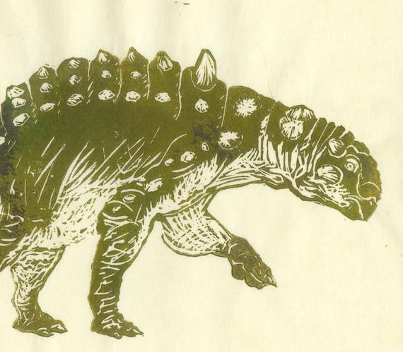 Euoplocephalus Linocut Hard Headed Vegetarian Dinosaur Lino Etsy