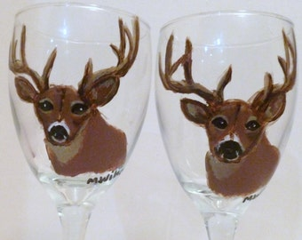 Hand Painted Deer Buck Wine Glasses Set of 2 Wildlife by Mary Wilson of Pet Lovers Boutique