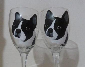 Hand Painted Boston Terrier Dog Wine Glasses set of 2