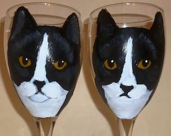 Black & White Tuxedo Cat Wine Glasses set of 2 Hand Painted by Mary Wilson