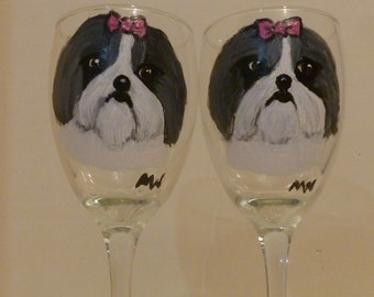 Shih Tzu Dog Wine Glasses Set of 2 Grey and White Hand Painted by Mary Wilson