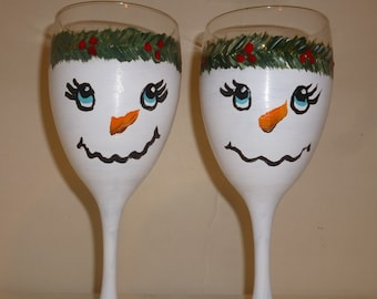 Snowmen Snow Lady Wine Glasses Set of 2 Hand Painted by Mary Wilson Goblets