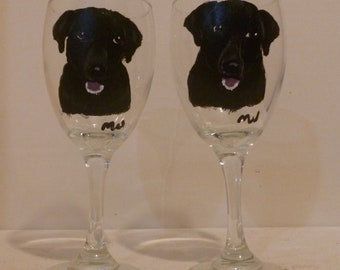 Black Labrador Retriever Dog Wine Glasses Set of 2 Labs Hand Painted by Mary Wilson