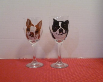 Single CUSTOM Pet wine Glass Hand Painted  with YOUR pet.