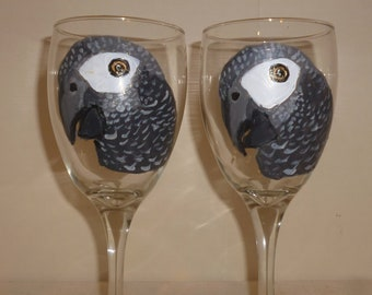 African Grey Parrot Bird Wine Glasses set of 2 by Mary Wilson of Pet Lovers Boutique