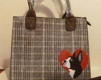 Boston Terrier Dog Purse Pocketbook bag hand painted by Mary Wilson