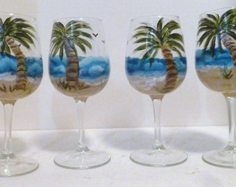 Stormy Beach Day Wine Glasses set of 4 Hand Painted by Mary Wilson of Pet Lovers Boutique