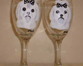 Maltese Dog Wine Glasses set of 2 Hand Painted by Mary Wilson of Pet Lovers Boutique