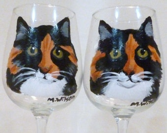 Hand Painted Calico Torti Cat Wine Glasses set of 2 by Mary Wilson Pet Lovers Boutique