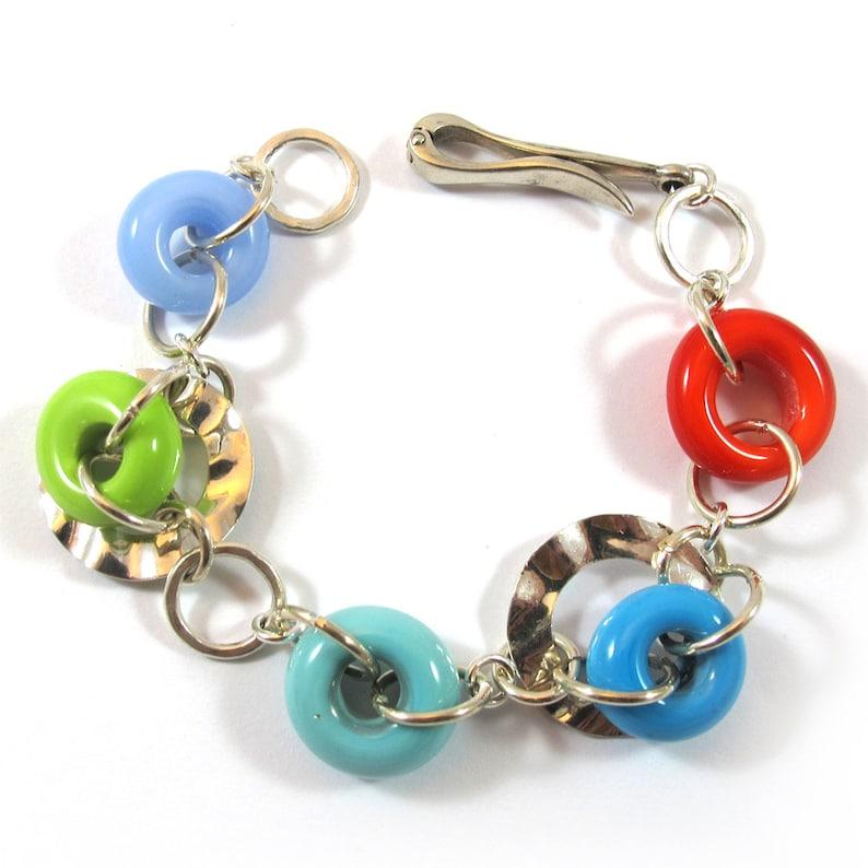 Lampwork circles bracelet sterling silver SRA Lampwork Bracelet