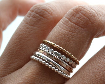 Grape VI . silver and 14kt Gold Filled rings . stacking rings, stackable bands