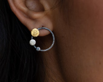Moon phase  gold plated silver earrings, reticulated organic studs