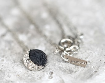 TO THE MOON and back necklace, reticulated organic pendant, moon phase