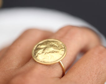 Golden Moon gold plated silver ring, reticulated organic ring, gold over silver. Moon ring, moon phase band