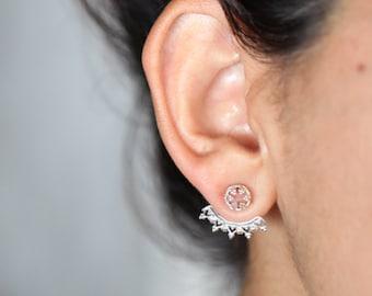La Dentelle .Mismatched Ear jacket. silver earrings. silver studs