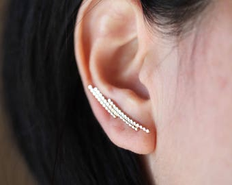 S t e l l a .Ear cuff Vermeil. silver and gold earring.Ear climber