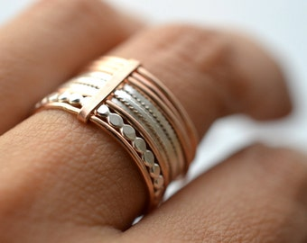 Grape X. GF. 14k Rose Gold Filled and silver rings, semainier. Stacking gold band