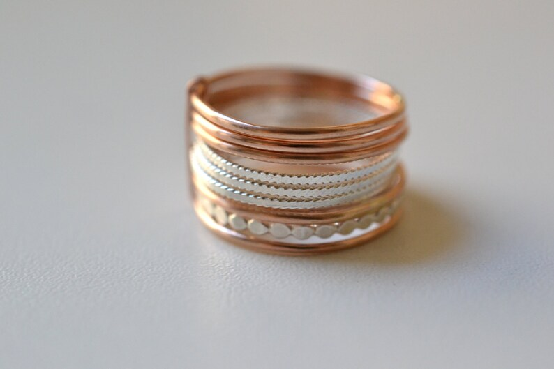 GF Grape X 14k Rose Gold Filled and silver rings semainier Stacking gold band