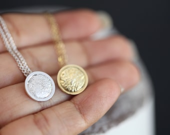 To the moon and back pendant in sterling silver. Reticulated silver necklace.