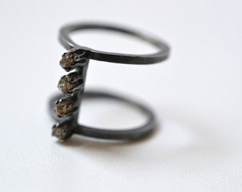 Earth- Raw diamonds and silver armor ring, Natural Raw Rough Diamonds, cage ring