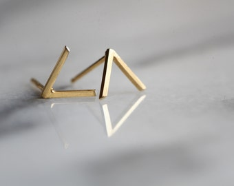 """Silver or gold geometric V shaped earrings made of 22k gold over silver """"Mountain studs"""""""
